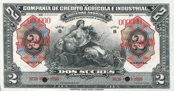 Ecuador 2 Sucres (1921 Compañía de Crédito Agrícola e Industrial-Commercial Banks)