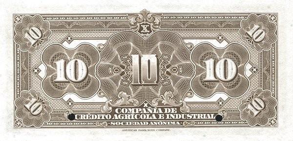 Ecuador 10 Sucres (1921 Compañía de Crédito Agrícola e Industrial-Commercial Banks)