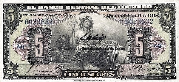 Ecuador 5 Sucres (1928-1938 Banco Central del Ecuador)