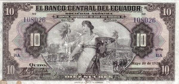 Ecuador 10 Sucres (1928-1938 Banco Central del Ecuador)