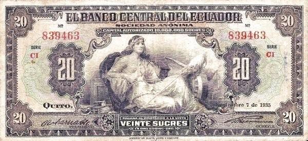 Ecuador 20 Sucres (1928-1938 Banco Central del Ecuador)