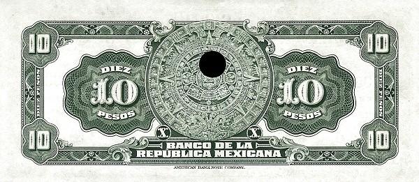 Mexico 10 Pesos (1918 Banco de la República Mexicana)