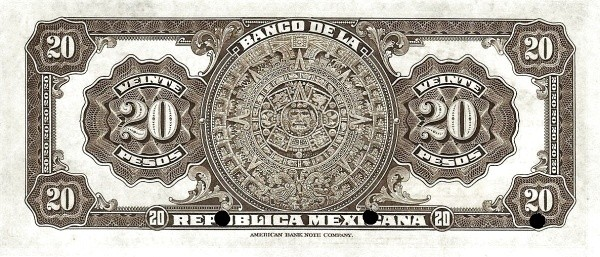 Mexico 20 Pesos (1918 Banco de la República Mexicana)