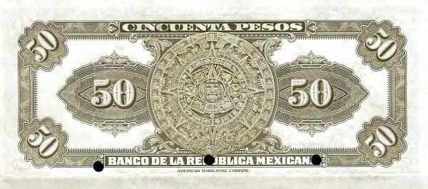 Mexico 50 Pesos (1918 Banco de la República Mexicana)