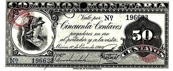 Mexico 50 Centavos (1920 Comisión Montaria)