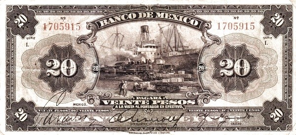 Mexico 20 Pesos (1925-1934 Banco de México)