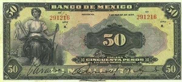 Mexico 50 Pesos (1925-1934 Banco de México)