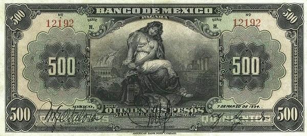 Mexico 500 Pesos (1925-1934 Banco de México)