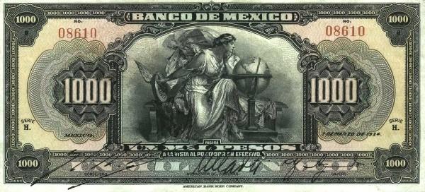Mexico 1000 Pesos (1925-1934 Banco de México)