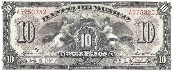 Mexico 10 Pesos (1936-1943 Banco de México)