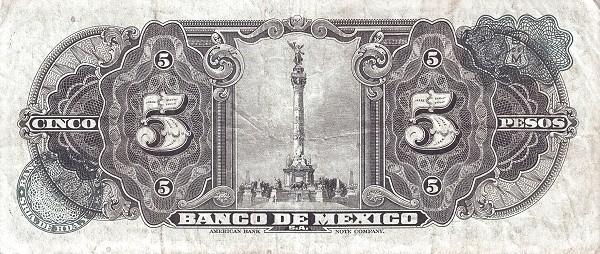 Mexico 5 Pesos (1937-1950 Banco de México)