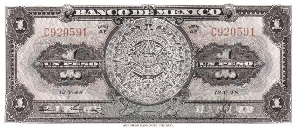 Mexico 1 Peso (1940-1953 Banco de México)