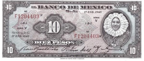 Mexico 10 Pesos (1940-1953 Banco de México)