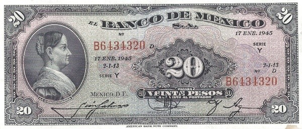 Mexico 20 Pesos (1940-1953 Banco de México)