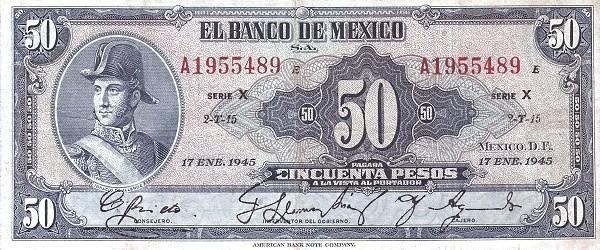 Mexico 50 Pesos (1940-1953 Banco de México)