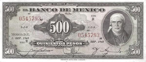 Mexico 500 Pesos (1940-1953 Banco de México)