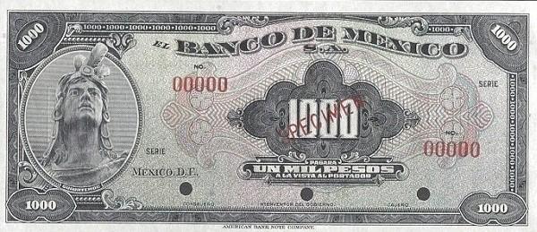 Mexico 1000 Pesos (1940-1953 Banco de México)