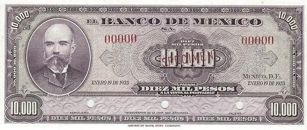 Mexico 10000 Pesos (1940-1953 Banco de México)