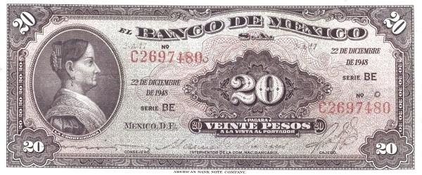 Mexico 20 Pesos (1946-1978 Banco de México)