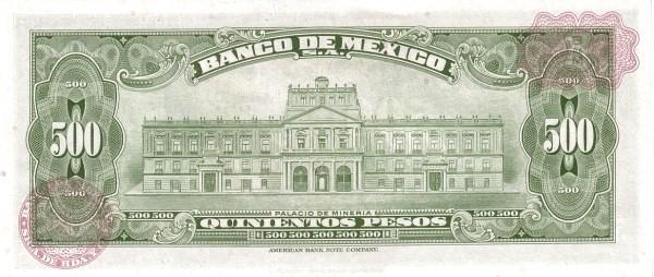 Mexico 500 Pesos (1946-1978 Banco de México)
