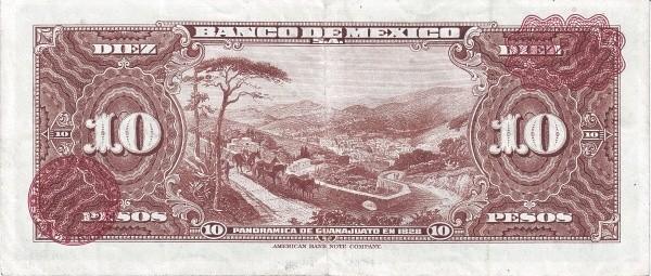Mexico 10 Pesos (1948-1970 Banco de México)