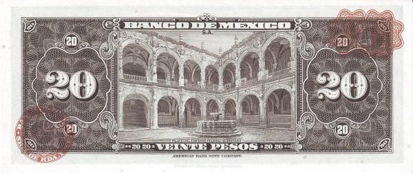 Mexico 20 Pesos (1948-1970 Banco de México)