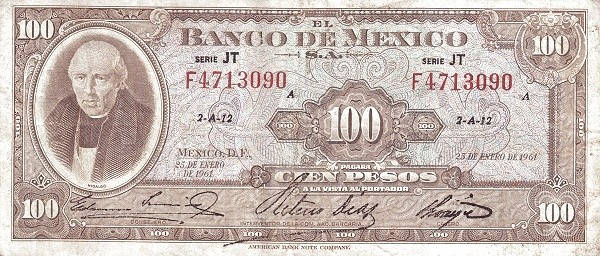 Mexico 100 Pesos (1948-1970 Banco de México)