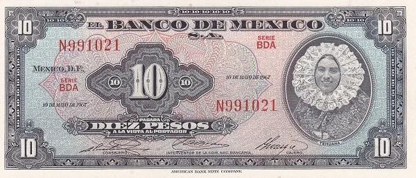 Mexico 10 Pesos (1953-1967 Banco de México)