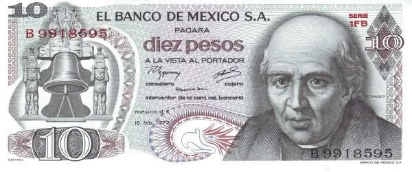 Mexico 10 Pesos (1969-1978 Banco de México)