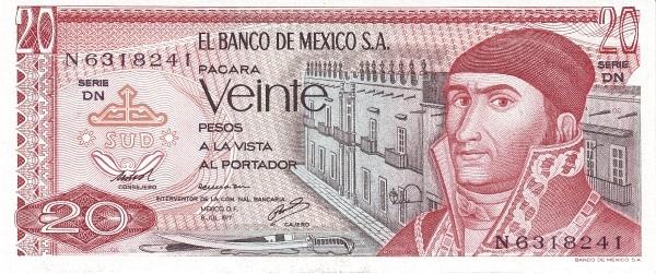 Mexico 20 Pesos (1969-1978 Banco de México)