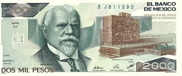 Mexico 2000 Pesos (1983-1984 Banco de México)