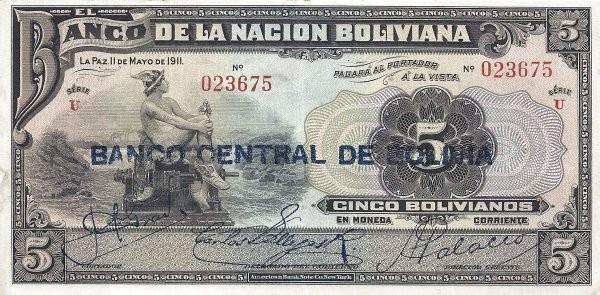 Bolivia 5 Bolivianos (1929 Banco Central de Bolivia)