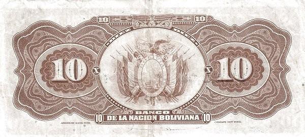 Bolivia 10 Bolivianos (1929 Banco Central de Bolivia)
