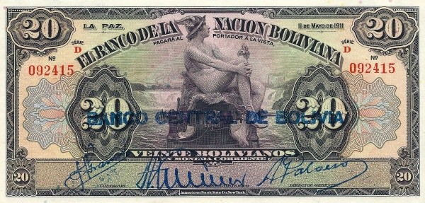 Bolivia 20 Bolivianos (1929 Banco Central de Bolivia)