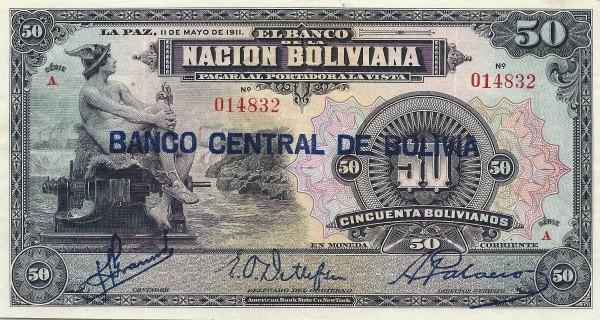 Bolivia 50 Bolivianos (1929 Banco Central de Bolivia)