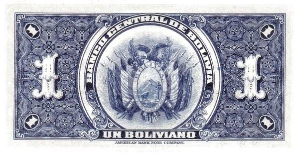 Bolivia 1 Boliviano (1928 Banco Central de Bolivia-2)