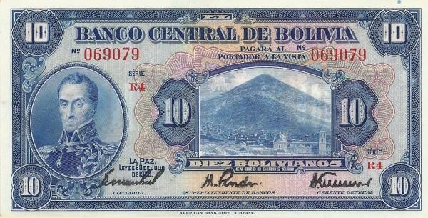 Bolivia 10 Bolivianos (1928 Banco Central de Bolivia)