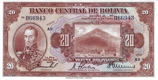 Bolivia 20 Bolivianos (1928 Banco Central de Bolivia)