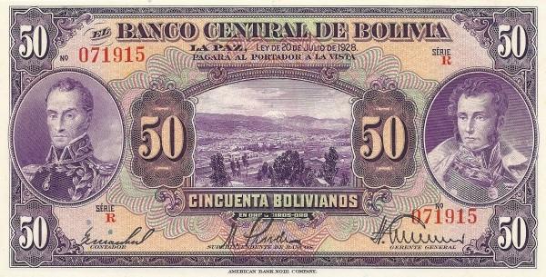 Bolivia 50 Bolivianos (1928 Banco Central de Bolivia-2)
