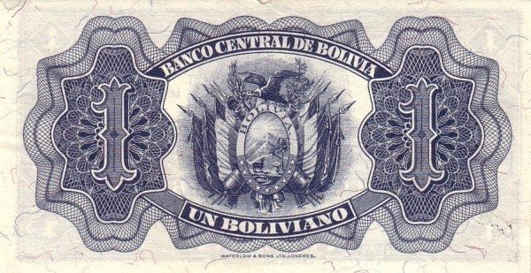 Bolivia 1 Boliviano (1928 Banco Central de Bolivia-Second Issue)
