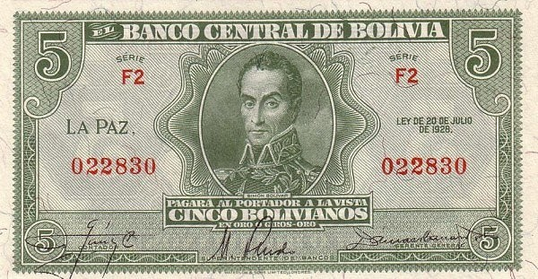 Bolivia 5 Bolivianos (1928 Banco Central de Bolivia-Second Issue)