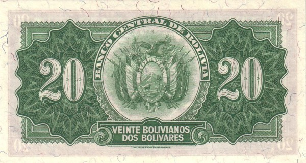 Bolivia 20 Bolivianos (1928 Banco Central de Bolivia-Second Issue)