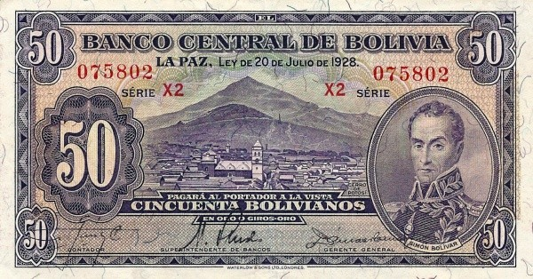 Bolivia 50 Bolivianos (1928 Banco Central de Bolivia-Second Issue)