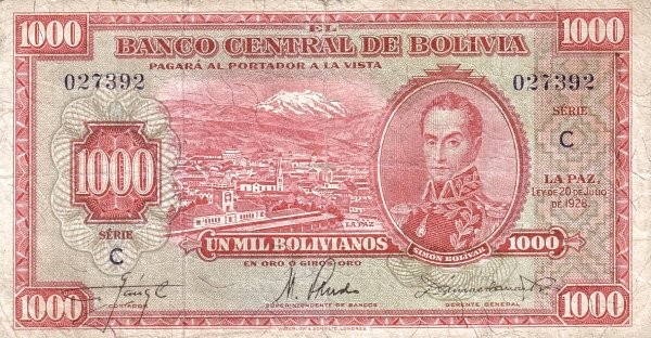 Bolivia 1000 Bolivianos (1928 Banco Central de Bolivia-Second Issue)