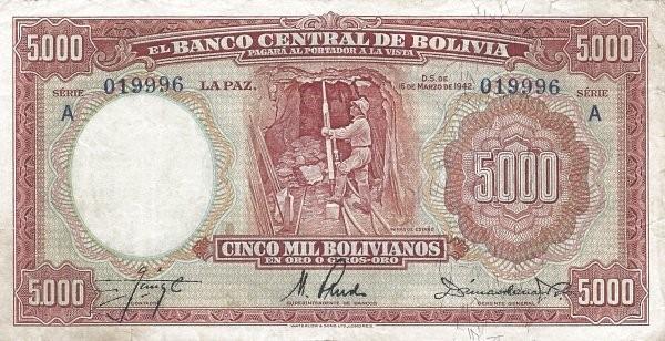Bolivia 5000 Bolivianos (1942 Banco Central de Bolivia)