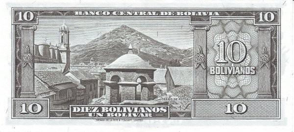 Bolivia 10 Bolivianos (1945 Banco Central de Bolivia)