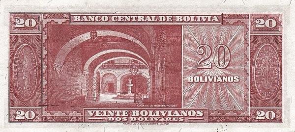 Bolivia 20 Bolivianos (1945 Banco Central de Bolivia)