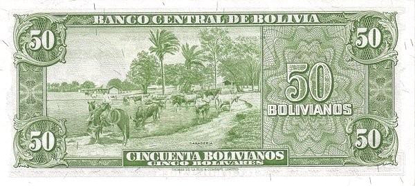 Bolivia 50 Bolivianos (1945 Banco Central de Bolivia)