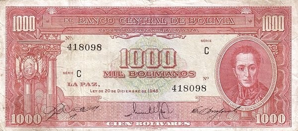 Bolivia 1000 Bolivianos (1945 Banco Central de Bolivia)