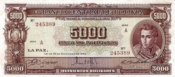 Bolivia 5000 Bolivianos (1945 Banco Central de Bolivia)